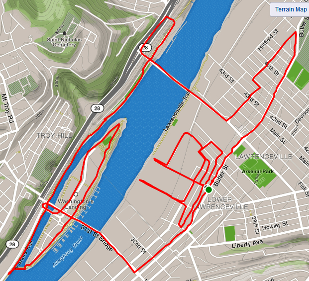 A Strava map of the route through lower Lawrenceville, across the Allegheny River and back, winding through some alleys at the end.