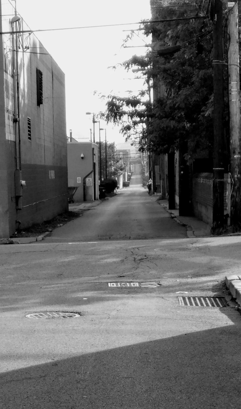Black and white image showing Spring Way, an alley in Pittsburgh.