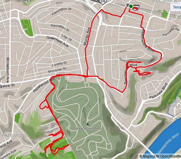Map of run on Tesla Street in Hazelwood