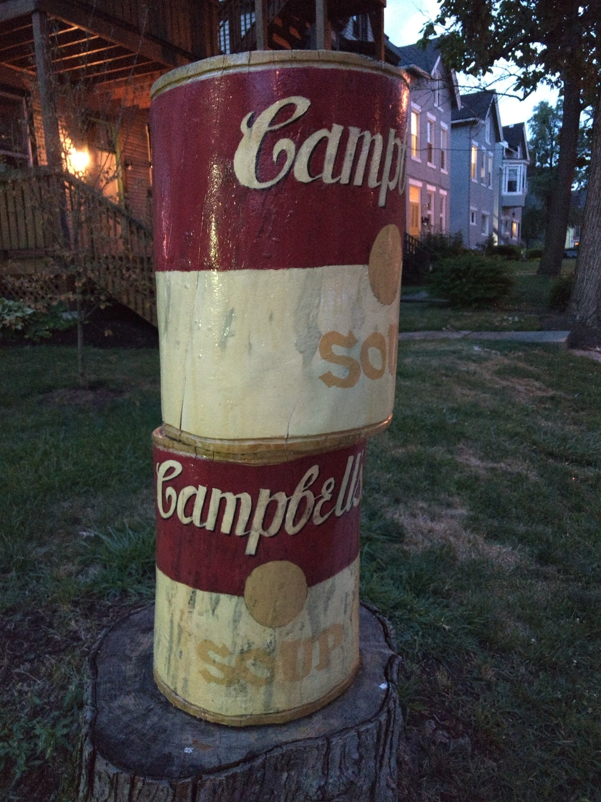 Soup Cans From a Log