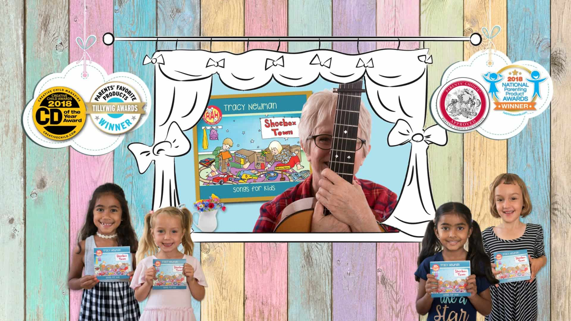 Tracy Newman's CD for kids, Shoebox Town, wins four awards in 2018.