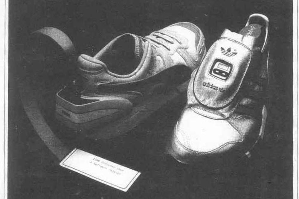Кроссовки Puma RS Computer (справа) и кроссовки Adidas Micropacer, 1986 год