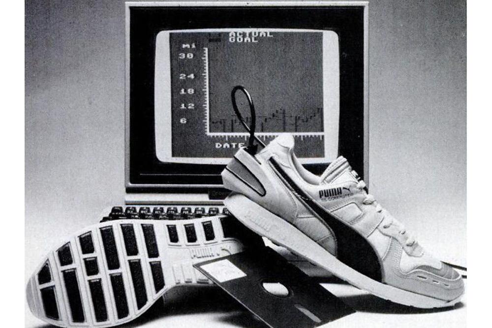 Газетная реклама Puma RS Computer, которые могли передавать информацию о пробежках на компьютер Apple II, 1986 год
