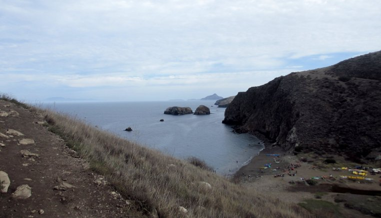 The beach at Scorpion Anchorage, Santa Cruz Island, as seen from the bluff to the North