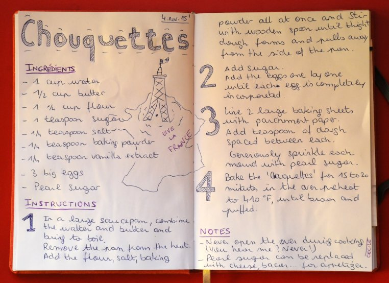 Photo of diary page where Cecile wrote out the instructions for baking chouquettes
