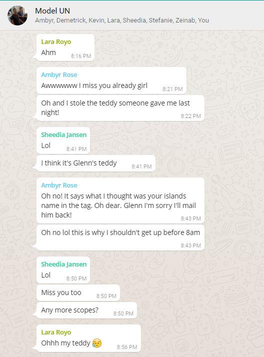 screen cap of a Whatsapp chat sessikon