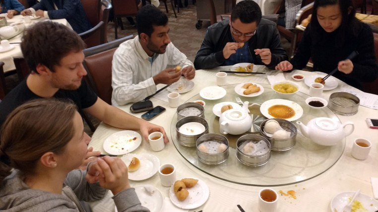 5 people dining around a lazy susan at East Gourmet Seafood in New Taipei (Rosemead) California