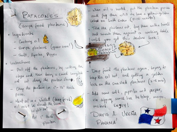 photo of a hand-written recipe for Patacones