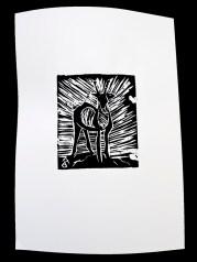 En hjort, linoleumtryck av Faruq Omer.