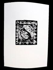 Uggla, linoleumtryck av Faruq Omer.
