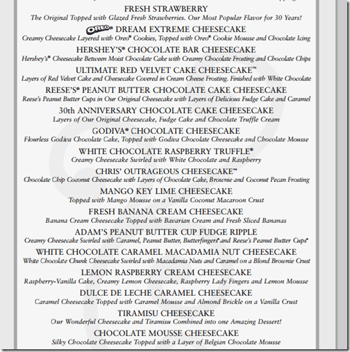 Cheesecake Factory Skinnylicious Calorie List