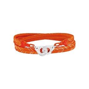 RG16 - Bracelet tisse main Roland-Garros par Dinh Van - menottes Dinh Van R12 en argent – coloris Terre battue - 280e