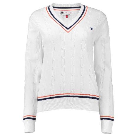 RG16 - pull femme en coton avec torsades et bords côtes rayés – Coloris Blanc - 90e