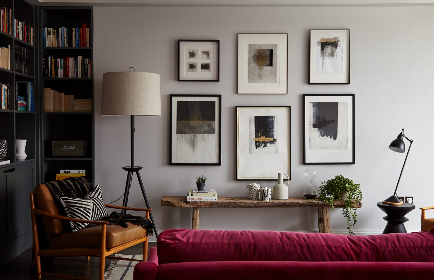 contemporary living room art english country rooms images regents park london apartment interiors design anna burles fresh cool modern frames wall rustic bench red couch armchair