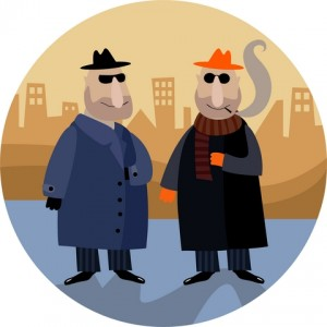 cartoon picture of two gangsters in big city