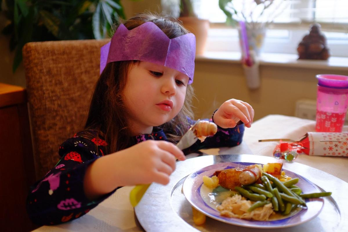girl having Christmas lunch