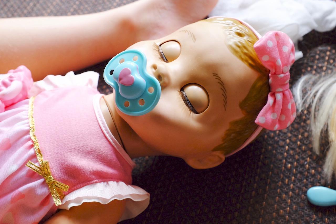 Luvabella doll asleep with dummy