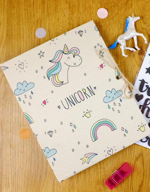 unicorn linen scrapbook