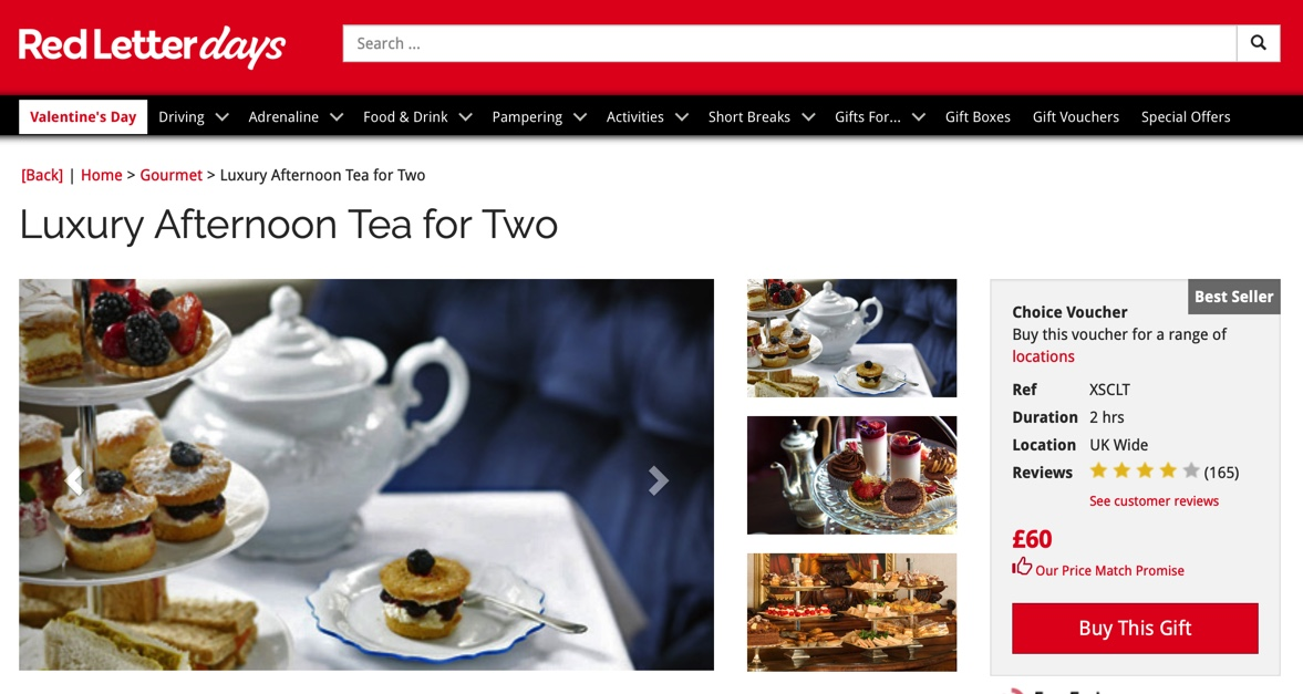 luxury afternoon tea from red letter days