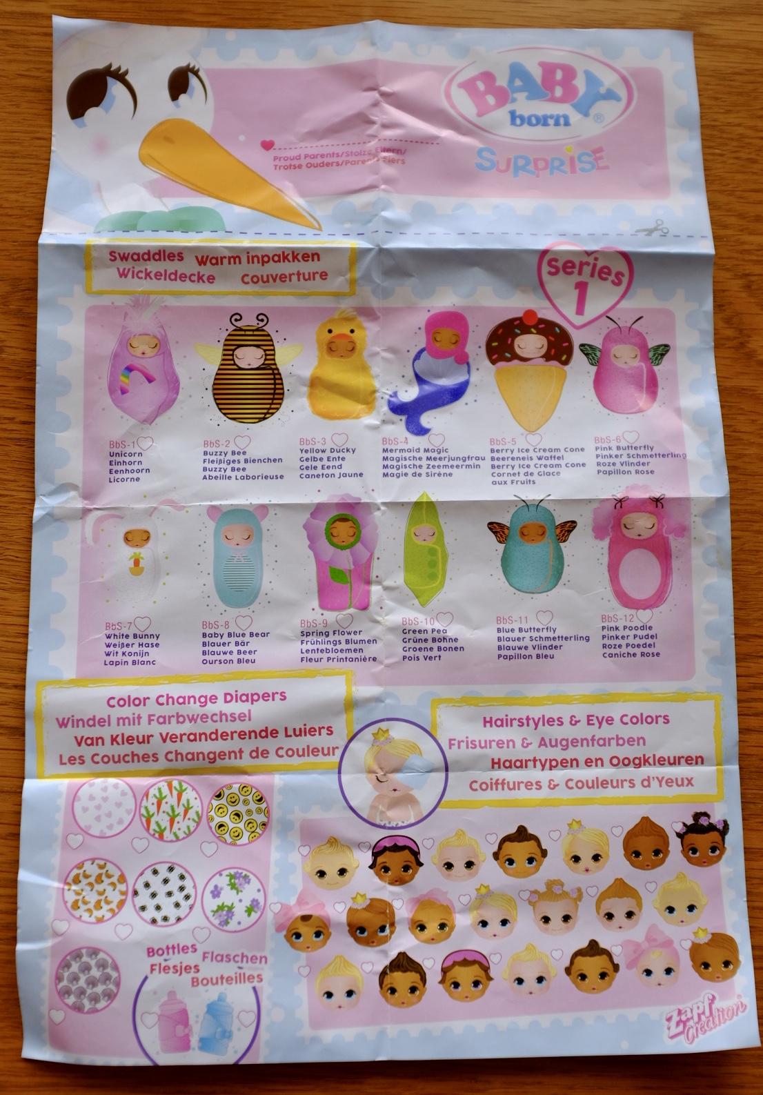 BABY born collectors sheet