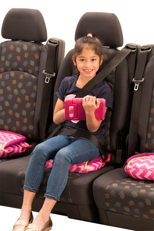 girl in seat on bubblebum booster