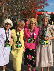 runners dressed in costume as Golden Girls