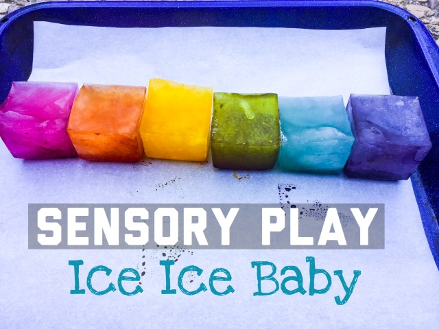 colored ice sensory play for babies