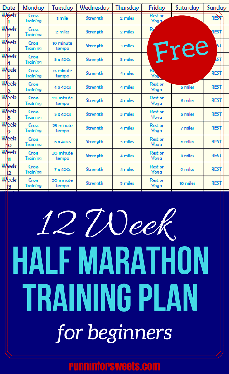 Download this free 12 week half marathon training plan for beginners! It includes running tips to get you started, a strength training workout, cross training ideas, and interval workouts to ensure you run your best half marathon ever.