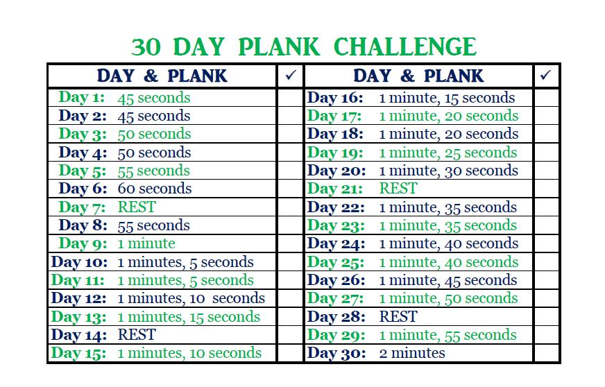 30 Day Plank Challenge December