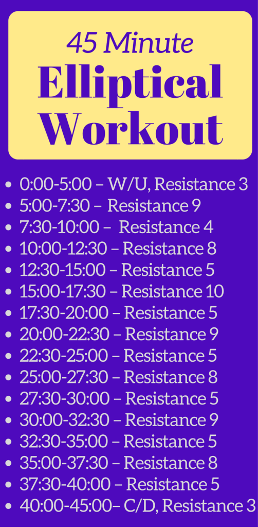 These two elliptical workouts for runners are the perfect addition to your training plan. These 30 minute and 45 minute elliptical trainer workouts are a great way to practice interval training and strengthen your full body. Try these workouts on your next cross training day, whether you're a beginner or advanced runner! #ellipticalworkout #ellipticaltrainer #ellipticalforrunners #crosstraining