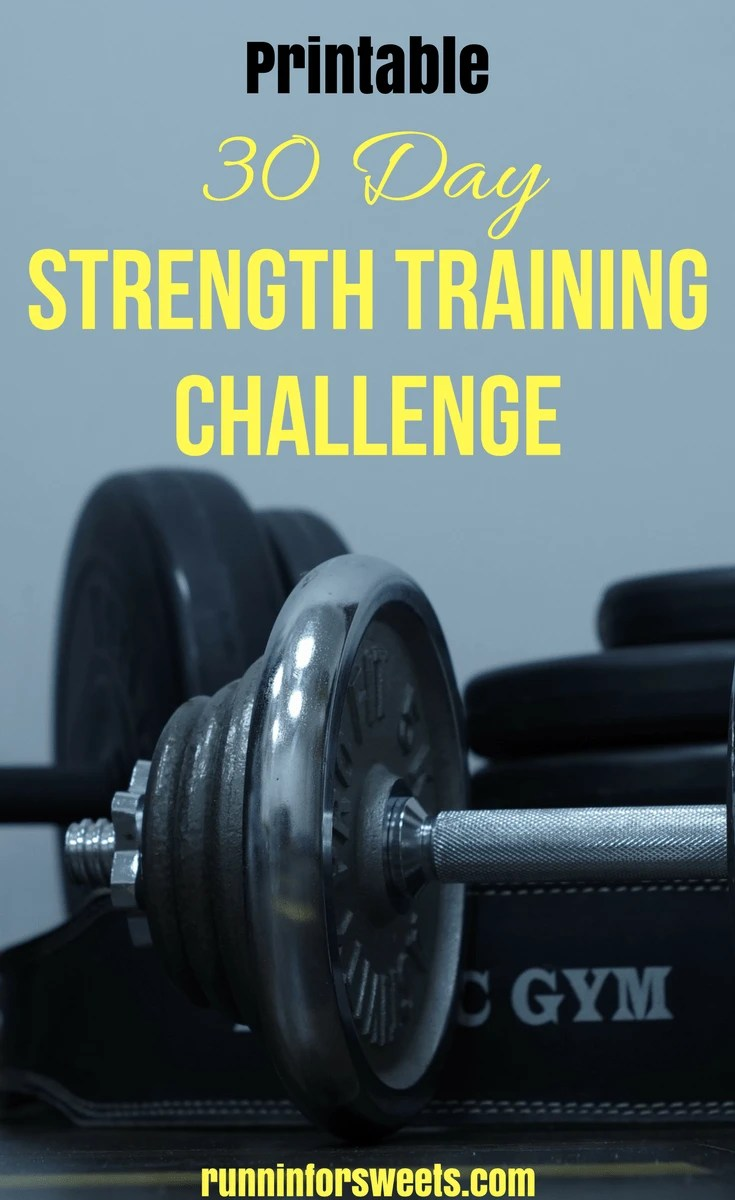 30 Day Strength Training Challenge for Runners. Follow this plan and complete these exercises each day to gain strength