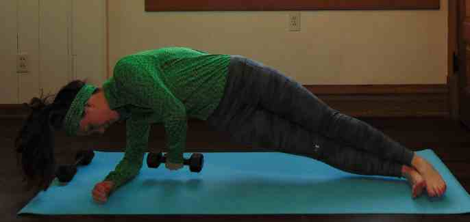 St. Patrick's Day Lucky 7s Full Body Dumbbell Workout: Side Plank with Overhead Reach & Touch