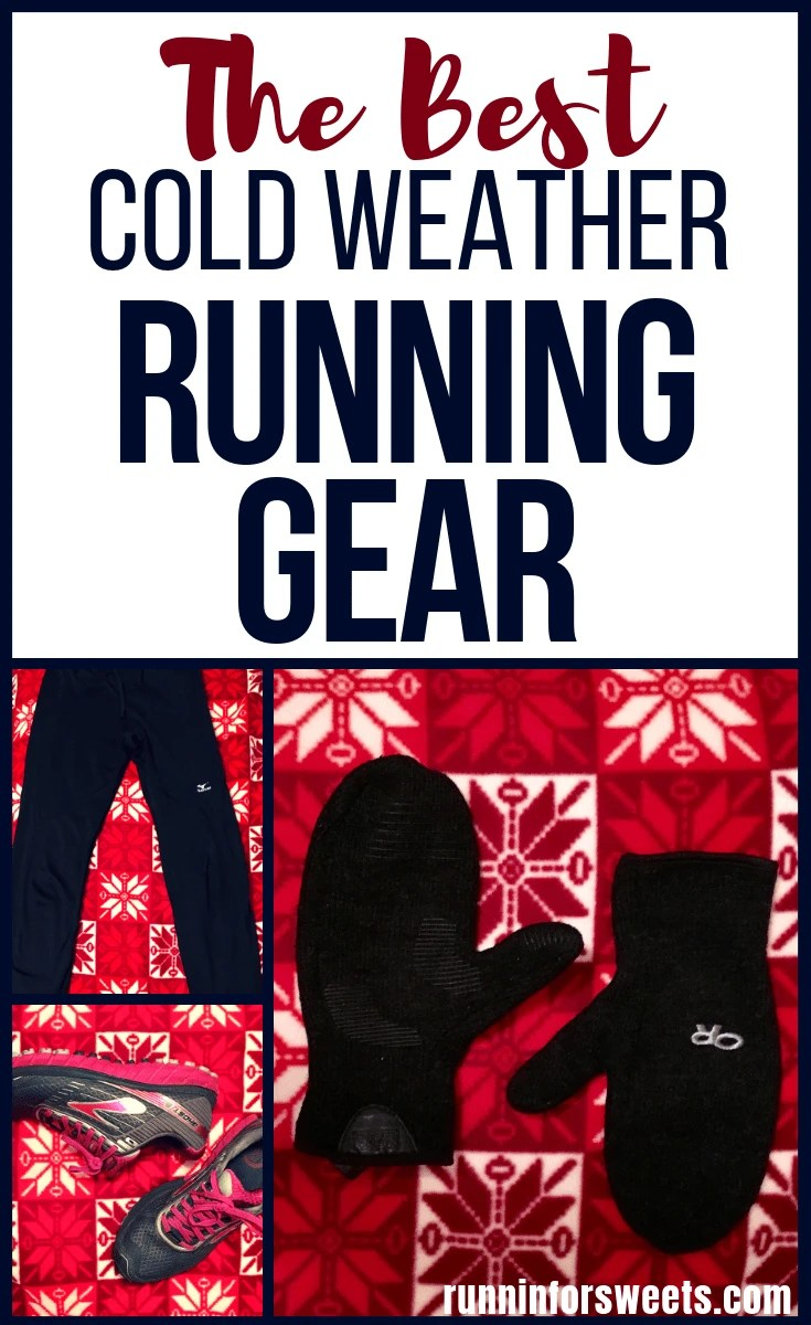 This winter running gear will keep you warm during those cold weather runs this season! Check out the best clothes for snow and cold weather. Running in the cold doesn't have to be miserable! Here is the ultimate guide for what to wear this winter running season. Everything from shoes, to jackets, vests, leggings, mittens and more. #winterrunninggear #runninggear #coldweatherrunning