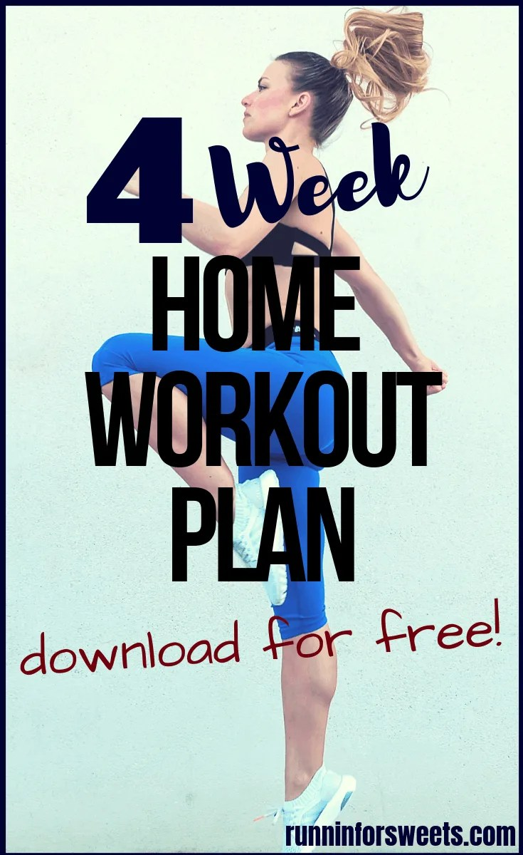 Download this free, printable 4 week workout plan to get in shape quickly! These exercises target the full body for epic toning and strengthening. Each week is packed with five 30 minute workouts to help you easily gain fitness. Throughout the week you'll complete HIIT and bodyweight exercises that target the arms, legs, glutes, abs and more – all with no equipment needed! Download this 4 week full body workout plan for the ultimate at home workout program. #4weekworkoutplan #homeworkout #fullbodyworkout #bodyweightworkout