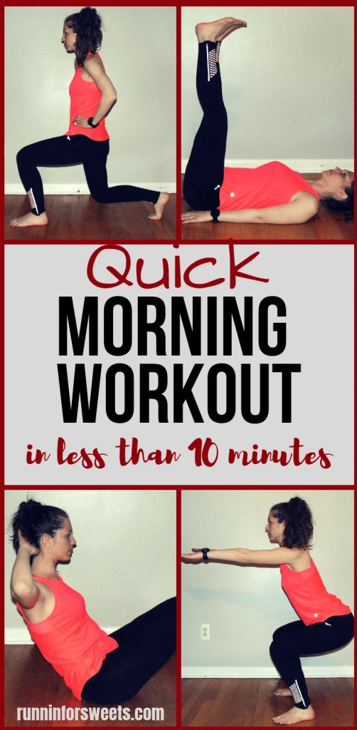 This quick morning workout routine is the perfect way to wake up! These simple bodyweight exercises are perfect for beginners. Jump start your fat burning each morning with this game changing 10 minute at home workout. #morningworkout #quickmorningworkout #morningworkoutroutine #athomeworkout