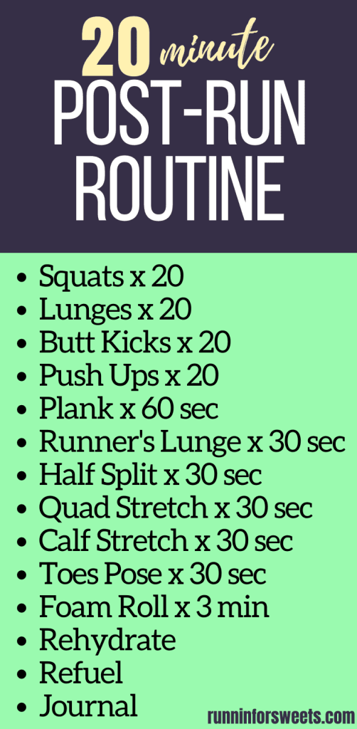 Try this effective post-run routine in 20 minutes or less! Complete with the best post-run stretches, strength exercises, and cooldown activities to help reduce soreness, promote recovery, stay injury free and become a stronger runner. #postrun #postrunroutine #postrunstretches #postrunrecovery