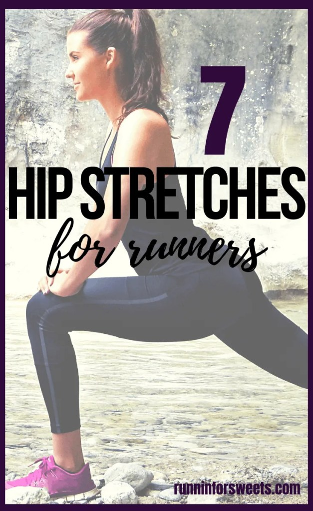 Try these 7 hip stretches to relieve tight hip flexors and reduce pain on the run. These exercises are perfect for runners during the post-run cooldown routine. Stay injury free with regular hip stretches! #hipstretches #hippain #hipexercises