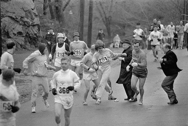 Kathy Switzer Escaping Marathon Director's Clutch