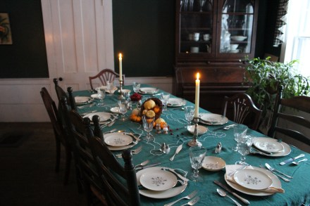 We weren't going to be intimidated by no running water for doing dishes, so we set our traditional Thanksgiving table.