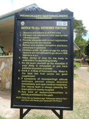 Notice to All Kilimanjaro Climbers. Not sure what scared me more - the grammar or some of the dire warnings.