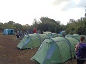 What a sight! Our sleeping tents and the dining tent in the distance. It was so exciting to see what our little homes would look like for the week.