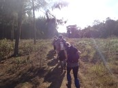 The crew starting out at the beginning of the Rongai Route through farmland and planted forests with lots of dust soon to be kicked up.