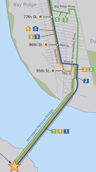 Les lignes bleue, orange et verte au départ - crédit image : Runarweb