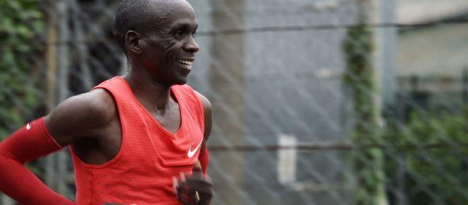 Eliud Kipchoge durant le marathon Breaking2