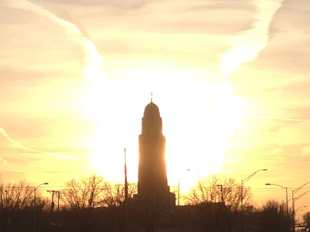 RACE the SUNSET? Nebraska State Capitol at sunset during one of my runs.