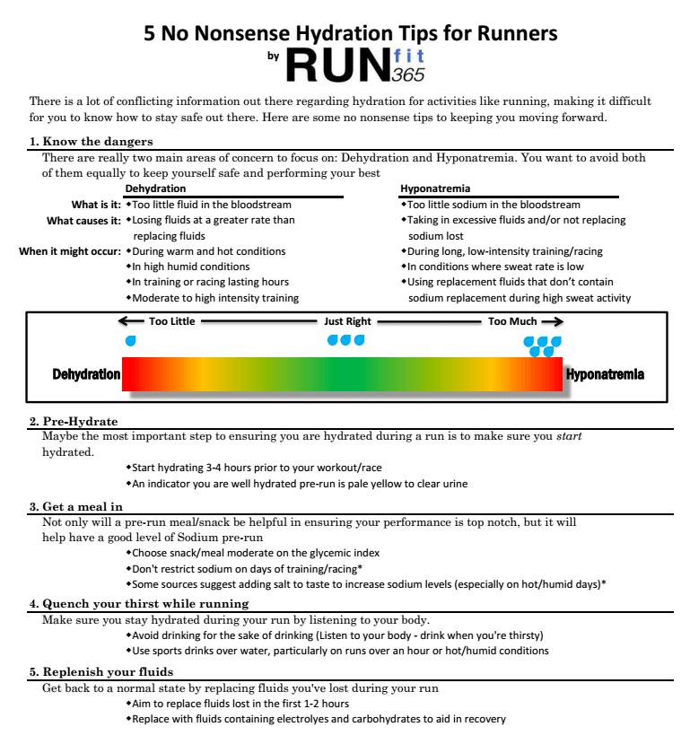 Hydration Tips for Runners from Run 365 on Google+