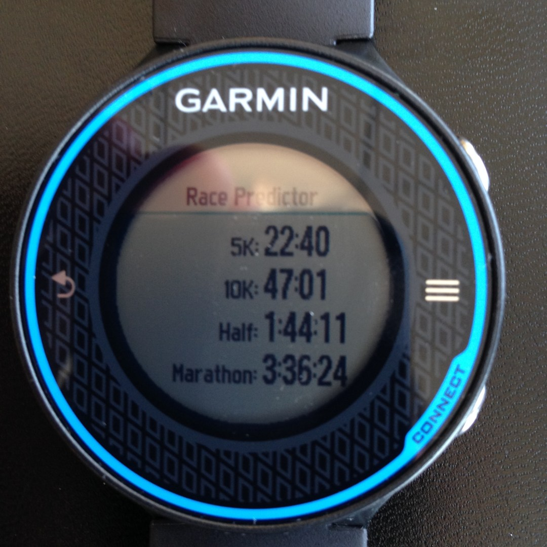 Garmin 620 race predictor. See 22:40 prediction for 5k. These times look blazing fast!