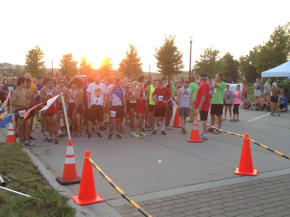 Energy 5k starting line (I'm the one in blue with the neon compression socks off to the left)
