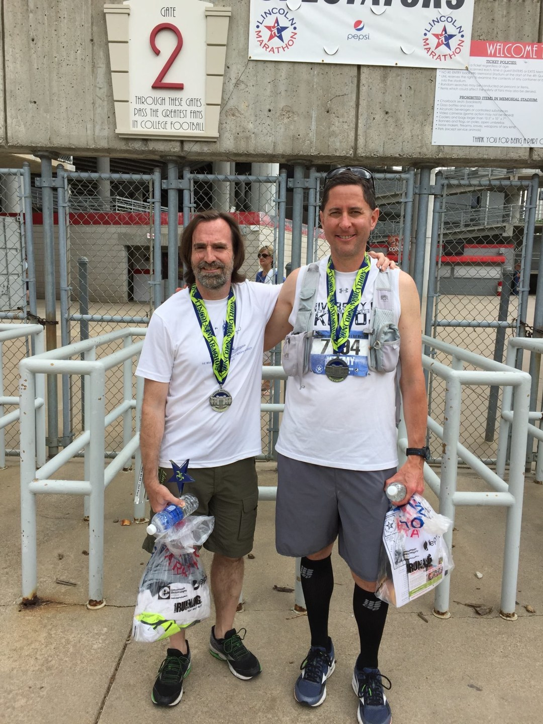 Post-race smiles with friend Phil McCarthy