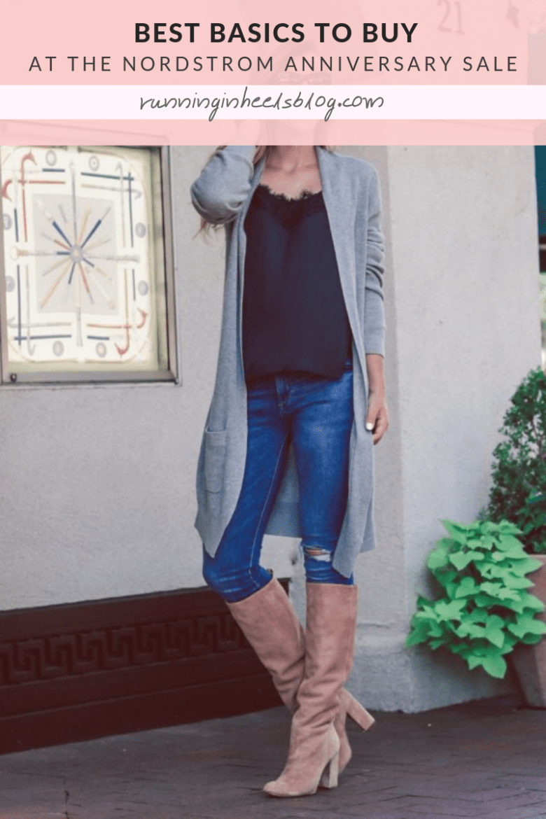 Why You should not buy OTK boots this fall, buy slouch boots instead | Running in Heels | blonde girl wears a black cami with long gray cardigan, blue jeans, and tan slouch boots by Sam Edelman